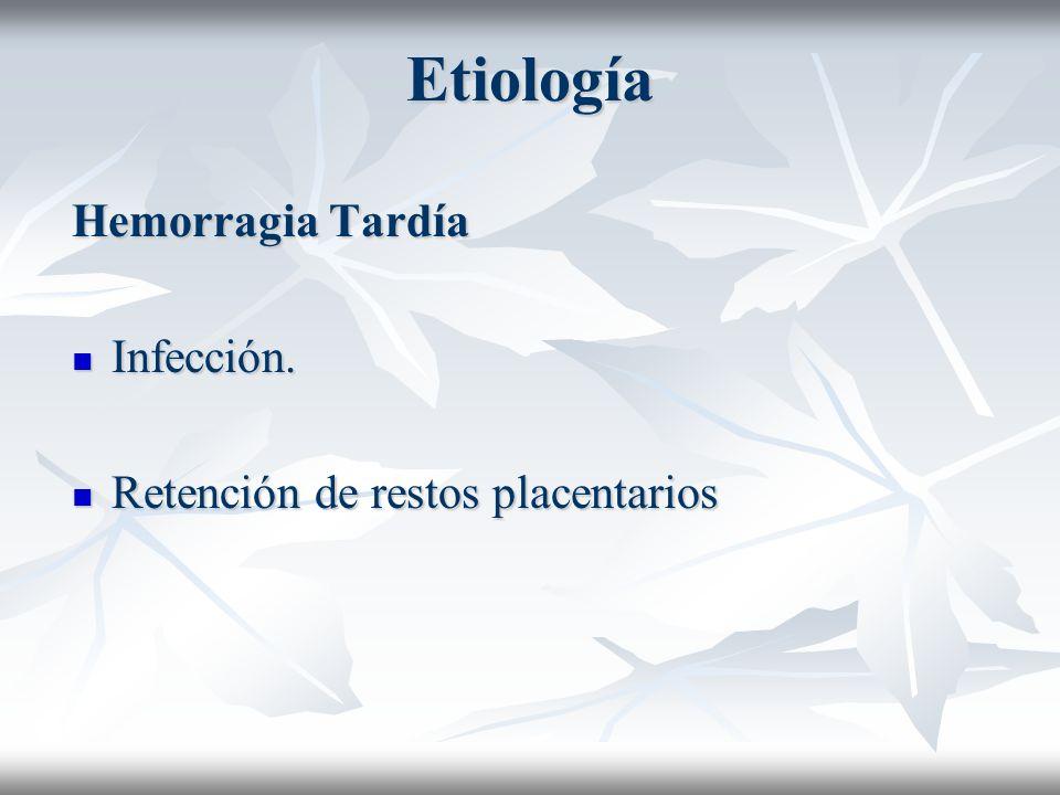 Etiología Hemorragia Tardía Infección. Infección. Retención de restos placentarios Retención de restos placentarios