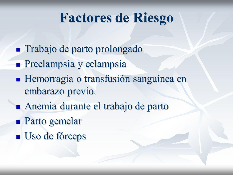 Factores de Riesgo Trabajo de parto prolongado Trabajo de parto prolongado Preclampsia y eclampsia Preclampsia y eclampsia Hemorragia o transfusión sa