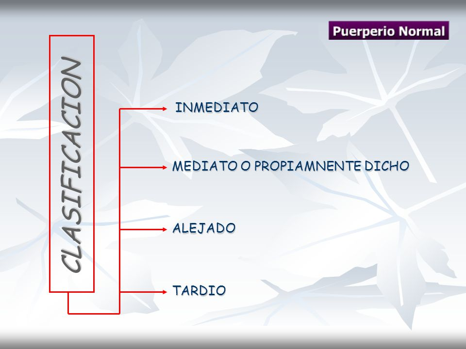 INMEDIATO MEDIATO O PROPIAMNENTE DICHO ALEJADO TARDIO CLASIFICACION CLASIFICACION