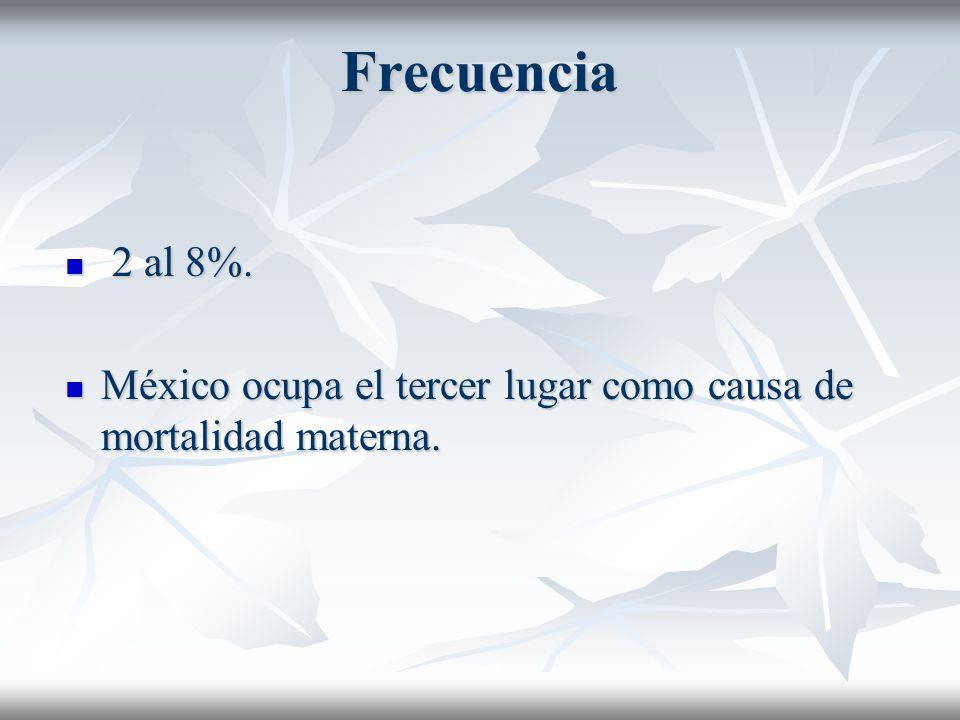 Frecuencia 2 al 8%. 2 al 8%. México ocupa el tercer lugar como causa de mortalidad materna. México ocupa el tercer lugar como causa de mortalidad mate