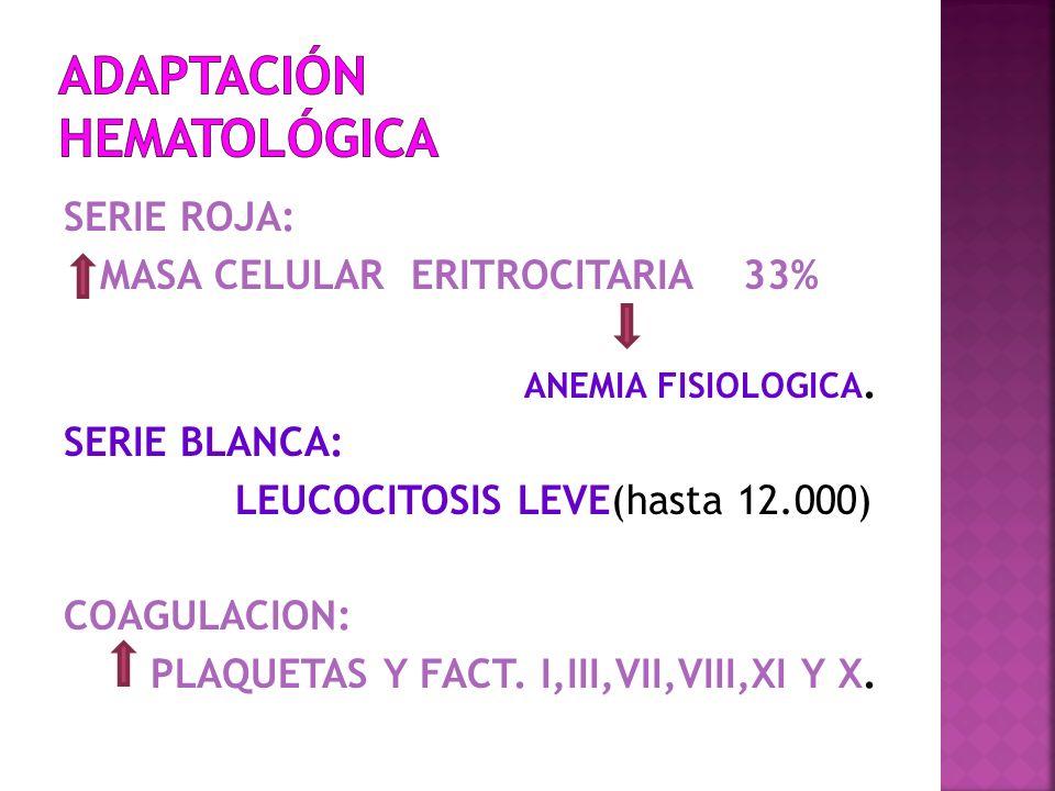 SERIE ROJA: MASA CELULAR ERITROCITARIA 33% ANEMIA FISIOLOGICA. SERIE BLANCA: LEUCOCITOSIS LEVE(hasta 12.000) COAGULACION: PLAQUETAS Y FACT. I,III,VII,