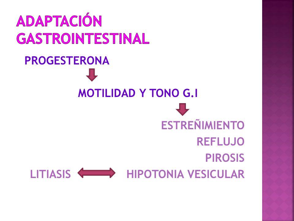PROGESTERONA MOTILIDAD Y TONO G.I ESTREÑIMIENTO REFLUJO PIROSIS LITIASIS HIPOTONIA VESICULAR