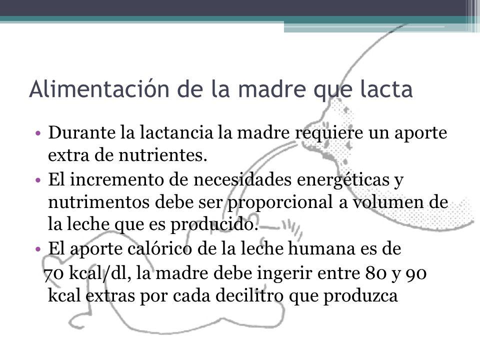 Alimentación de la madre que lacta Durante la lactancia la madre requiere un aporte extra de nutrientes. El incremento de necesidades energéticas y nu