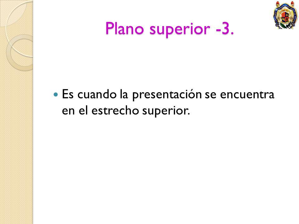 Plano superior -3. Es cuando la presentación se encuentra en el estrecho superior.