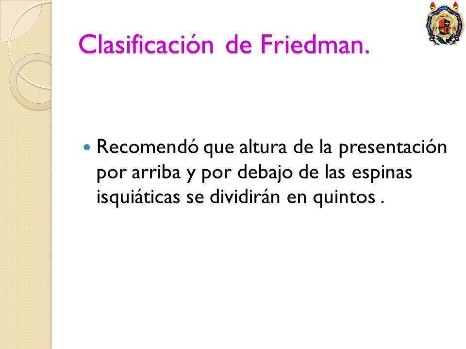 Clasificación de Friedman. Recomendó que altura de la presentación por arriba y por debajo de las espinas isquiáticas se dividirán en quintos.