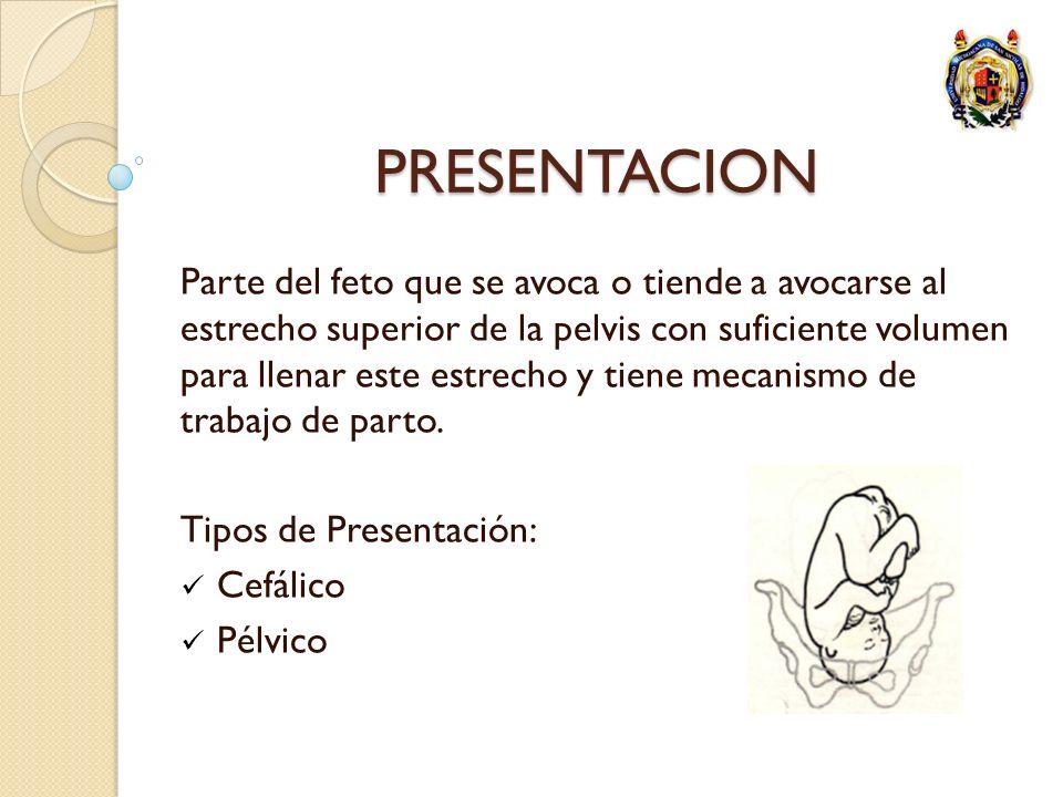 PRESENTACION Parte del feto que se avoca o tiende a avocarse al estrecho superior de la pelvis con suficiente volumen para llenar este estrecho y tien