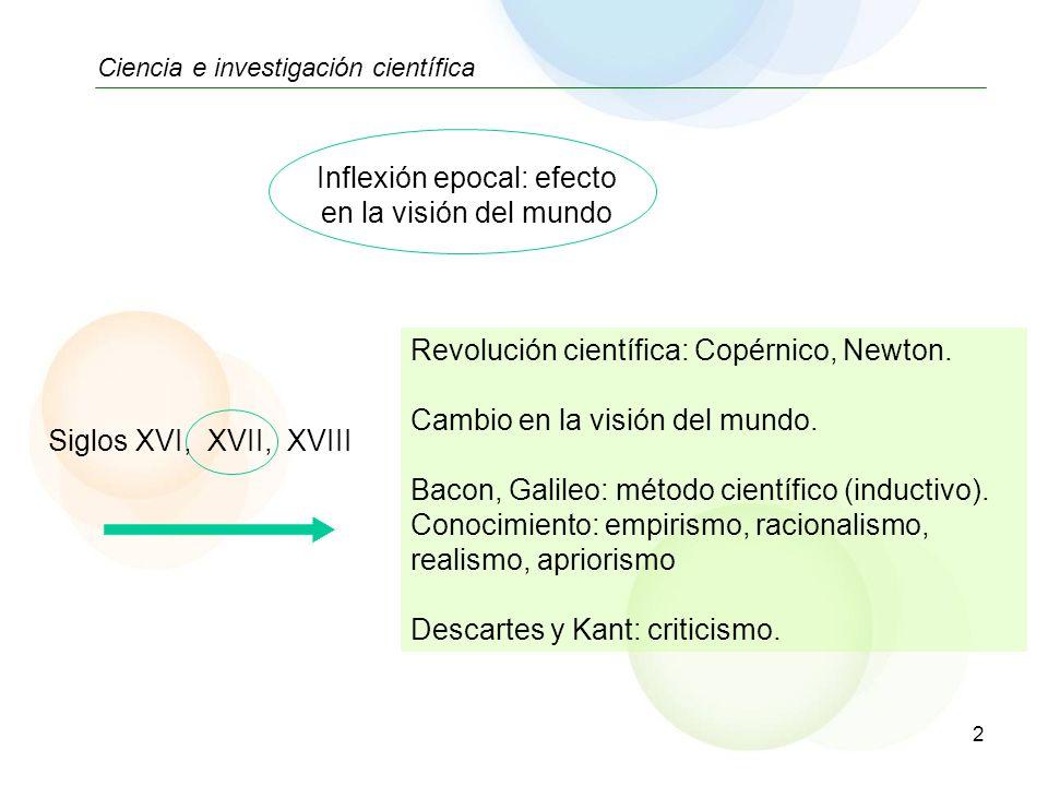 2 Ciencia e investigación científica Revolución científica: Copérnico, Newton. Cambio en la visión del mundo. Bacon, Galileo: método científico (induc