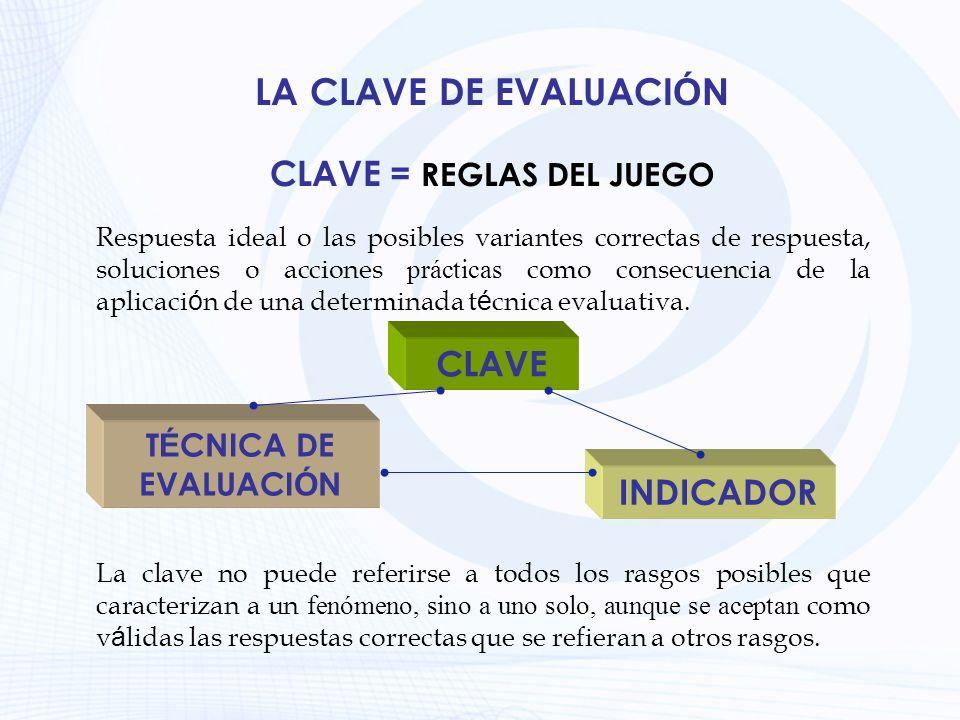 LA CLAVE DE EVALUACI Ó N Respuesta ideal o las posibles variantes correctas de respuesta, soluciones o acciones prácticas como consecuencia de la apli