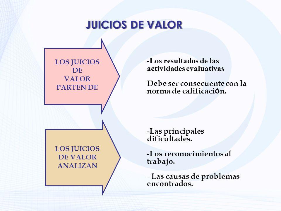 JUICIOS DE VALOR LOS JUICIOS DE VALOR PARTEN DE -Los resultados de las actividades evaluativas Debe ser consecuente con la norma de calificaci ó n. LO