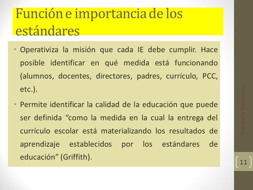 Función e importancia de los estándares Operativiza la misión que cada IE debe cumplir.