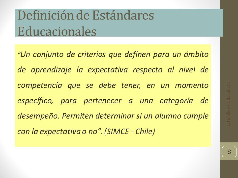 Definición de Estándares Educacionales Un conjunto de criterios que definen para un ámbito de aprendizaje la expectativa respecto al nivel de competencia que se debe tener, en un momento específico, para pertenecer a una categoría de desempeño.
