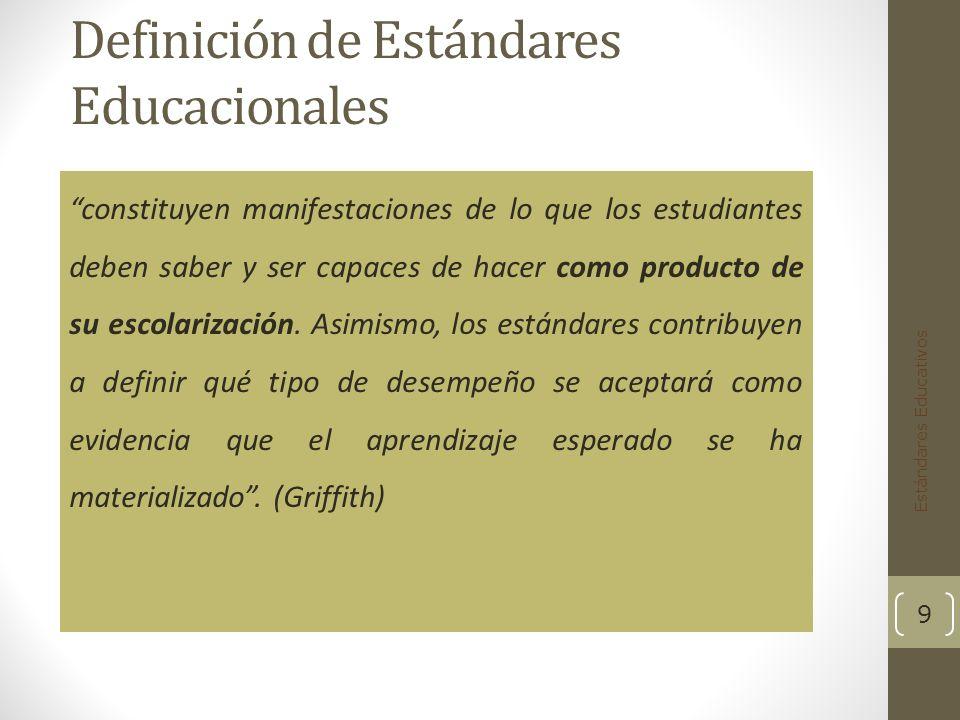 Definición de Estándares Educacionales constituyen manifestaciones de lo que los estudiantes deben saber y ser capaces de hacer como producto de su escolarización.