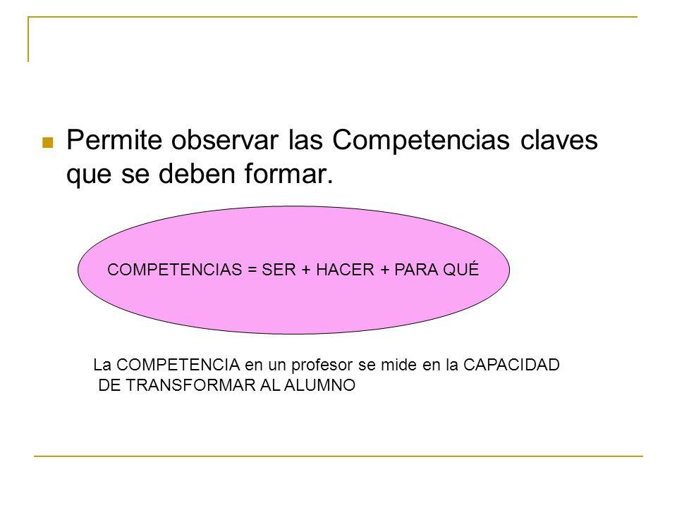 Permite observar las Competencias claves que se deben formar. COMPETENCIAS = SER + HACER + PARA QUÉ La COMPETENCIA en un profesor se mide en la CAPACI