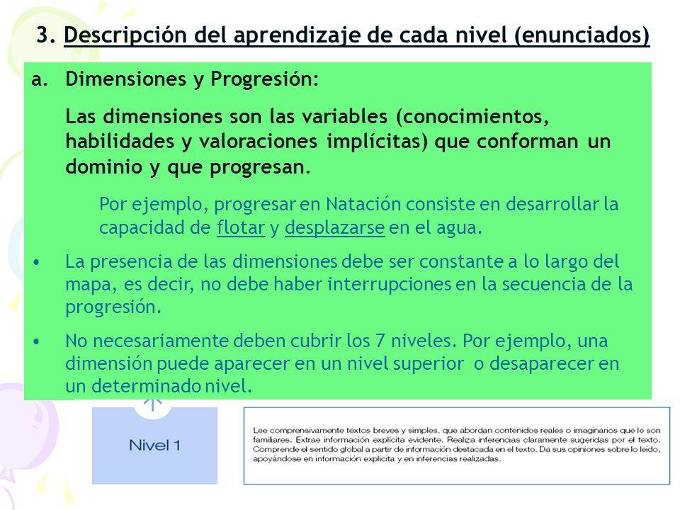 3. Descripción del aprendizaje de cada nivel (enunciados) a.Dimensiones y Progresión: Las dimensiones son las variables (conocimientos, habilidades y