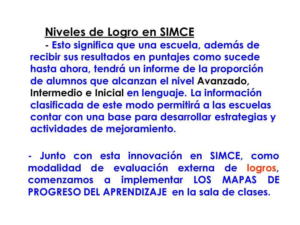 Niveles de Logro en SIMCE - Esto significa que una escuela, además de recibir sus resultados en puntajes como sucede hasta ahora, tendrá un informe de