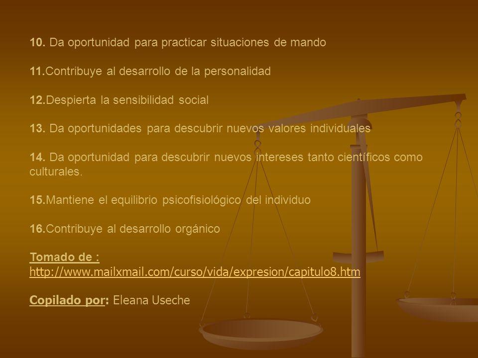 10. Da oportunidad para practicar situaciones de mando 11.Contribuye al desarrollo de la personalidad 12.Despierta la sensibilidad social 13. Da oport