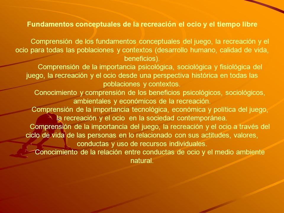 Fundamentos conceptuales de la recreación el ocio y el tiempo libre Comprensión de los fundamentos conceptuales del juego, la recreación y el ocio par