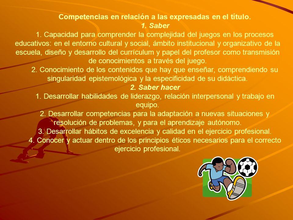 Competencias en relación a las expresadas en el título. 1. Saber 1. Capacidad para comprender la complejidad del juegos en los procesos educativos: en