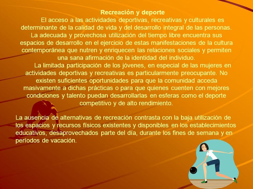 Recreación y deporte El acceso a las actividades deportivas, recreativas y culturales es determinante de la calidad de vida y del desarrollo integral