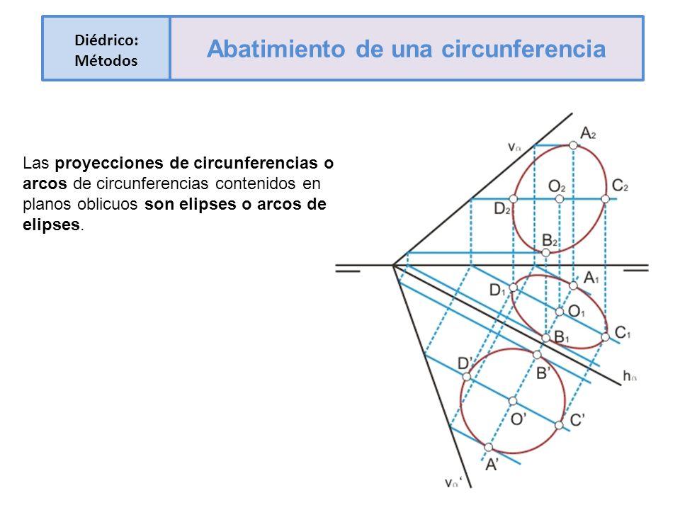 Las proyecciones de circunferencias o arcos de circunferencias contenidos en planos oblicuos son elipses o arcos de elipses. Diédrico: Métodos Abatimi