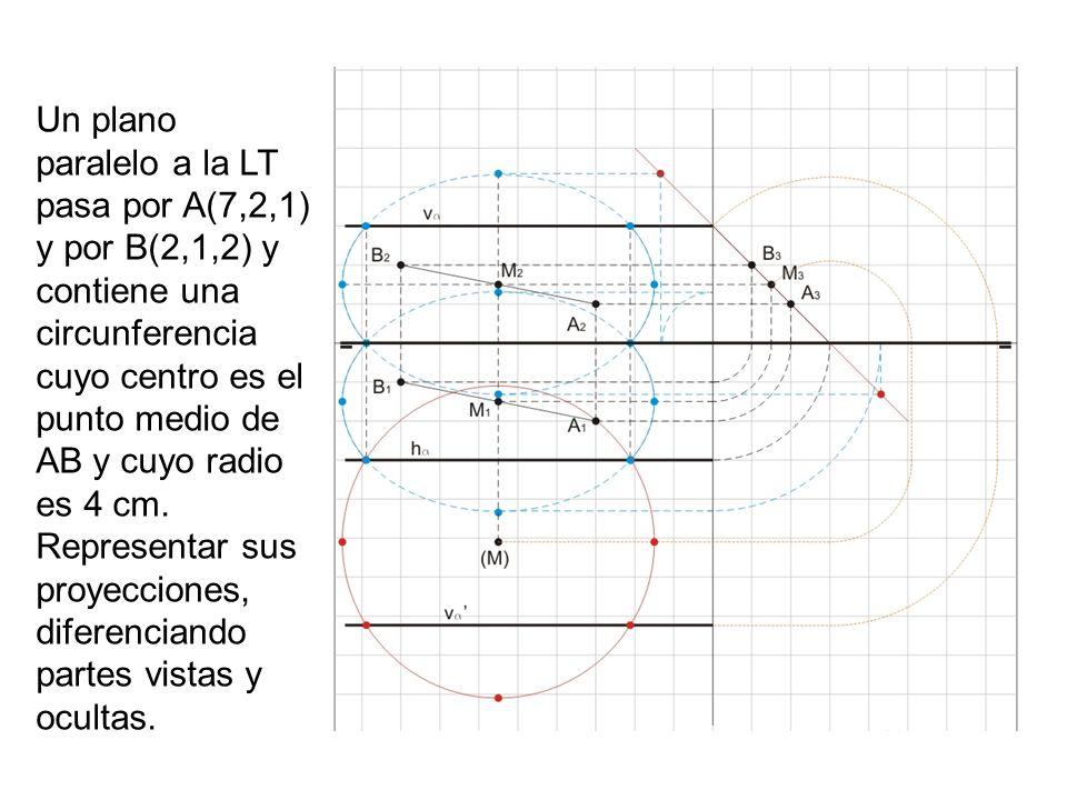 Un plano paralelo a la LT pasa por A(7,2,1) y por B(2,1,2) y contiene una circunferencia cuyo centro es el punto medio de AB y cuyo radio es 4 cm. Rep