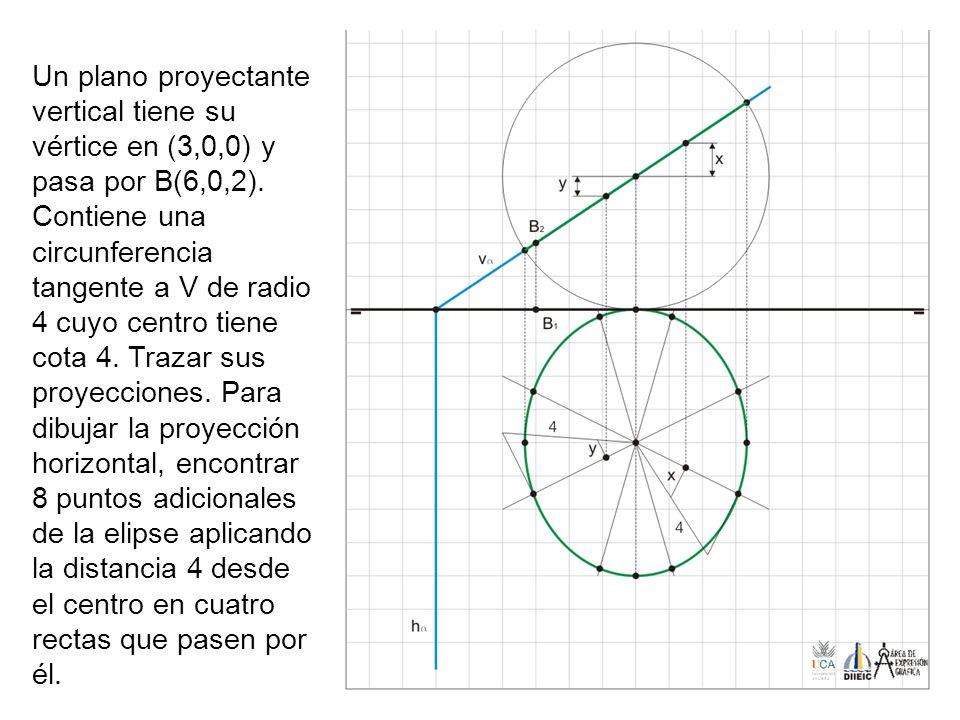 Un plano proyectante vertical tiene su vértice en (3,0,0) y pasa por B(6,0,2). Contiene una circunferencia tangente a V de radio 4 cuyo centro tiene c