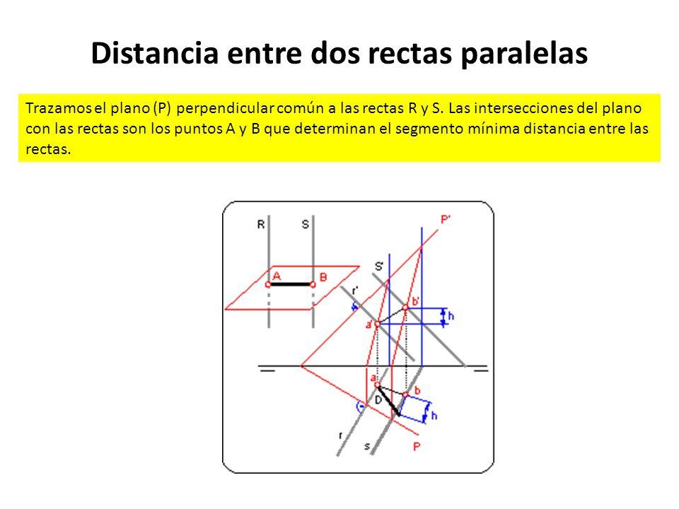 Distancia entre dos rectas paralelas Trazamos el plano (P) perpendicular común a las rectas R y S. Las intersecciones del plano con las rectas son los