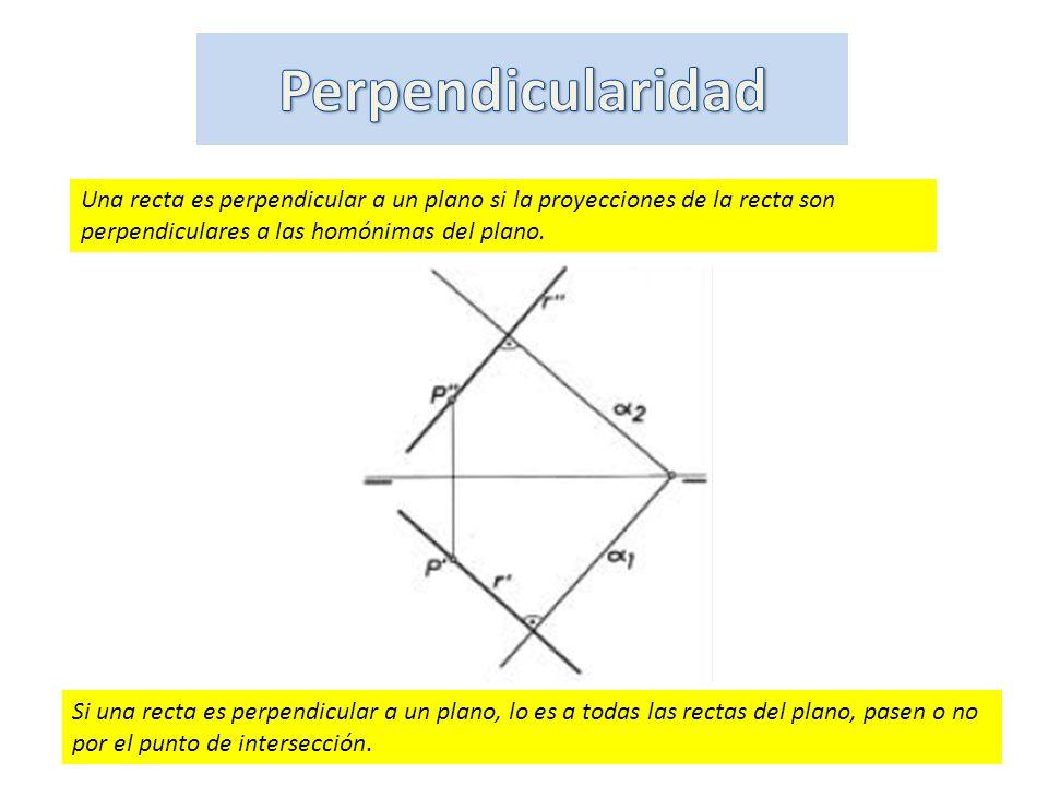 Si una recta es perpendicular a un plano, lo es a todas las rectas del plano, pasen o no por el punto de intersección. Una recta es perpendicular a un