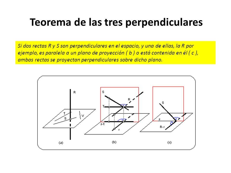 Teorema de las tres perpendiculares Si dos rectas R y S son perpendiculares en el espacio, y una de ellas, la R por ejemplo, es paralela a un plano de