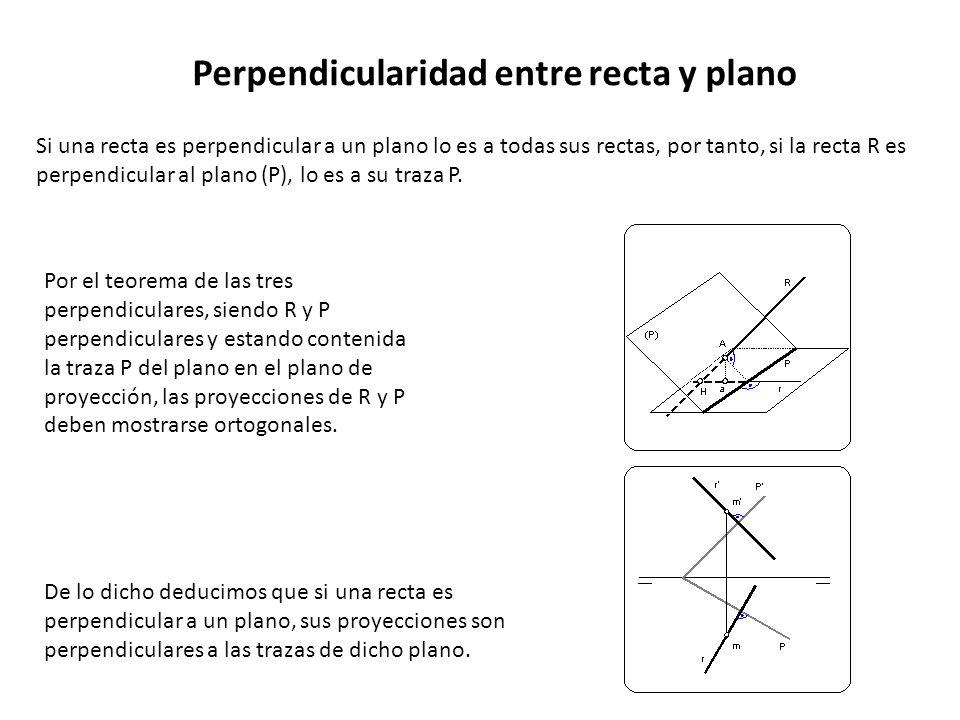 Perpendicularidad entre recta y plano Si una recta es perpendicular a un plano lo es a todas sus rectas, por tanto, si la recta R es perpendicular al