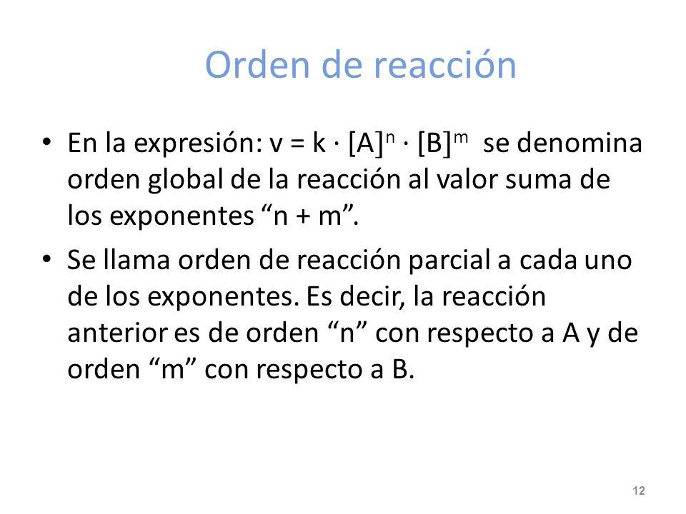 Ecuación de velocidad (cont). A la constante k se le denomina constante de velocidad (No confundir con K C o K P ) Ejemplos: H 2 (g) + I 2 (g) 2 HI (g