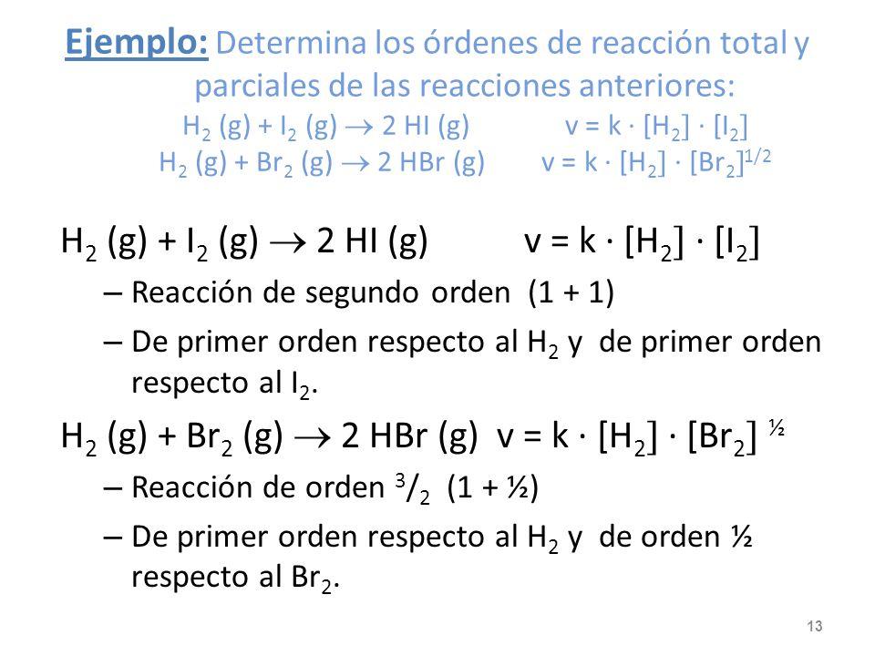 Orden de reacción En la expresión: v = k · [A n · [B m se denomina orden global de la reacción al valor suma de los exponentes n + m. Se llama orden d