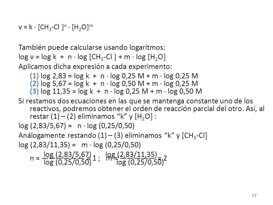 Ejemplo: Determinar el orden de reacción : CH 3 -Cl (g) + H 2 O (g) CH 3 -OH (g) + HCl (g) usando los datos de la tabla anterior. v = k · [CH 3 -Cl n