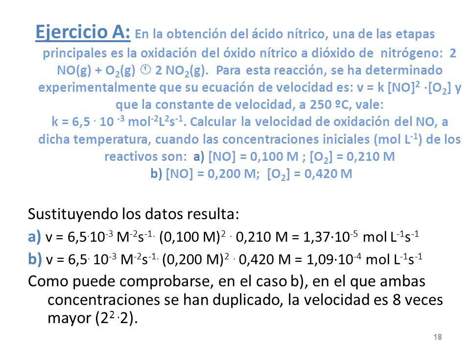 v = k · [CH 3 -Cl n · [H 2 O m También puede calcularse usando logaritmos: log v = log k + n · log [CH 3 -Cl + m · log [H 2 O Aplicamos dicha expresió