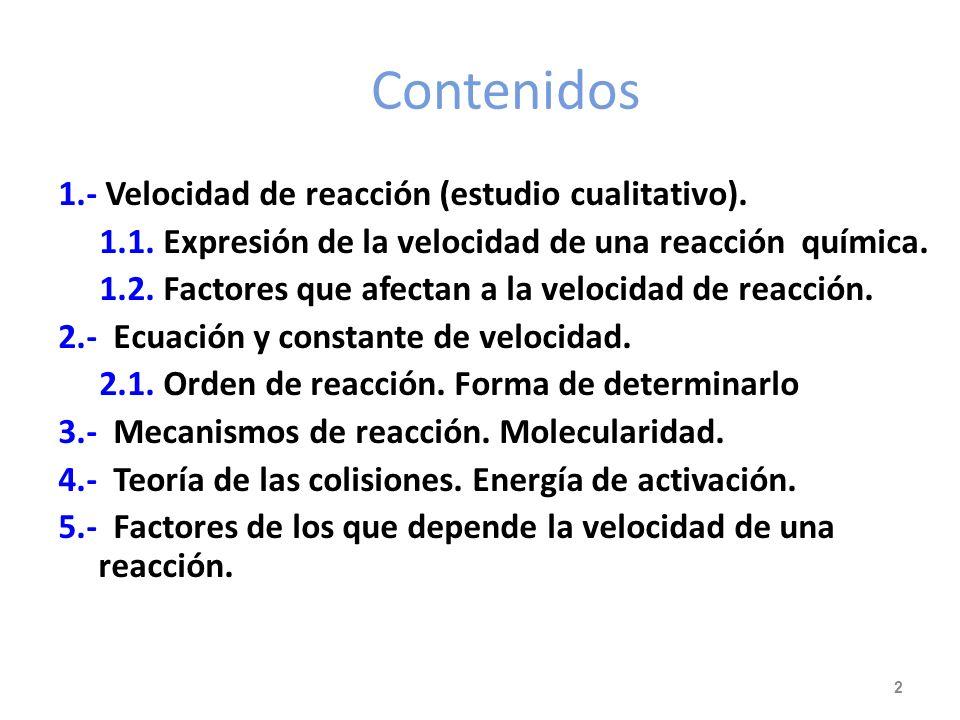 Contenidos 1.- Velocidad de reacción (estudio cualitativo).