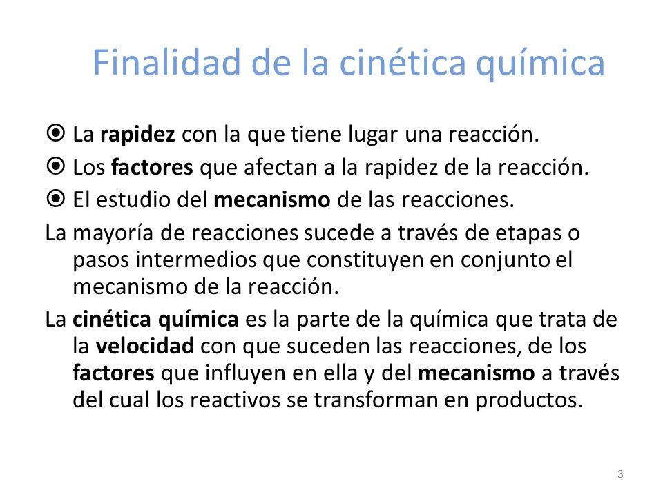 Finalidad de la cinética química La rapidez con la que tiene lugar una reacción.