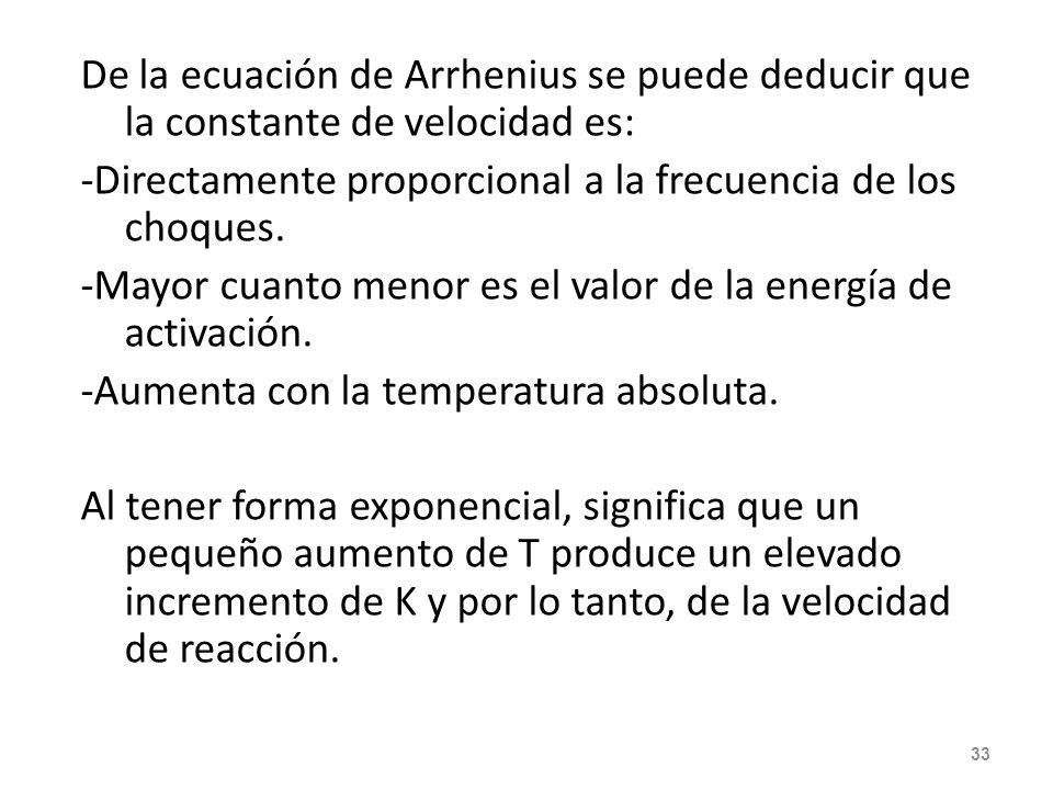 Ecuación de Arrhenius k = const. de velocidad A = constante que tiene en cuenta la frecuencia de las colisiones en la reacción. T = temp. Absoluta Nor