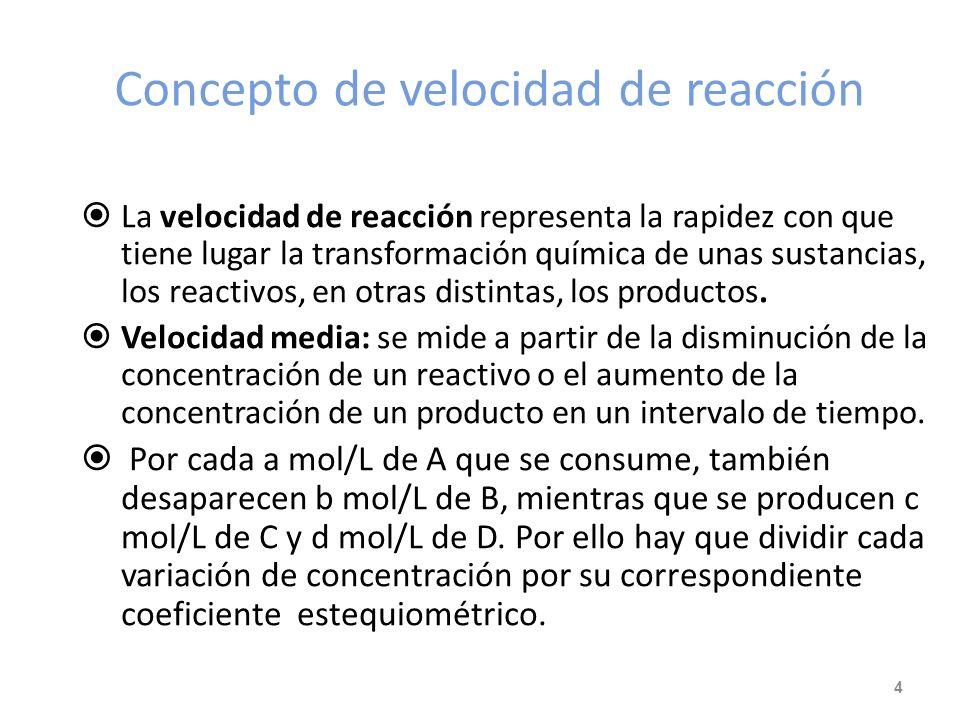 Concepto de velocidad de reacción La velocidad de reacción representa la rapidez con que tiene lugar la transformación química de unas sustancias, los reactivos, en otras distintas, los productos.