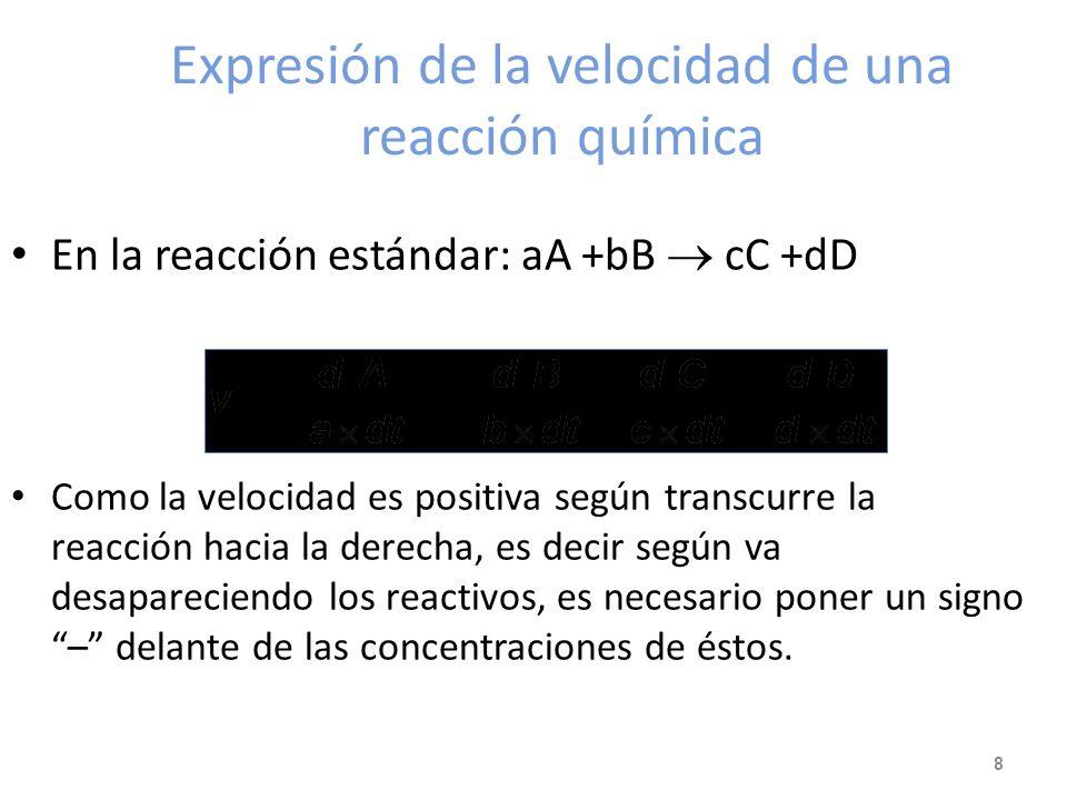 Expresión de la velocidad de una reacción química En la reacción estándar: aA +bB cC +dD Como la velocidad es positiva según transcurre la reacción hacia la derecha, es decir según va desapareciendo los reactivos, es necesario poner un signo – delante de las concentraciones de éstos.