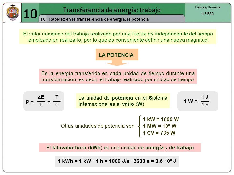10 Transferencia de energía: trabajo 10 Física y Química 4.º ESO Rapidez en la transferencia de energía: la potencia El valor numérico del trabajo realizado por una fuerza es independiente del tiempo empleado en realizarlo, por lo que es conveniente definir una nueva magnitud Es la energía transferida en cada unidad de tiempo durante una transformación, es decir, el trabajo realizado por unidad de tiempo LA POTENCIA P = E t = T t La unidad de potencia en el Sistema Internacional es el vatio (W) 1 W = 1 J 1 s Otras unidades de potencia son 1 kW = 1000 W 1 MW = 10 6 W 1 CV = 735 W El kilovatio-hora (kWh) es una unidad de energía y de trabajo 1 kWh = 1 kW · 1 h = 1000 J/s · 3600 s = 3,6·10 6 J