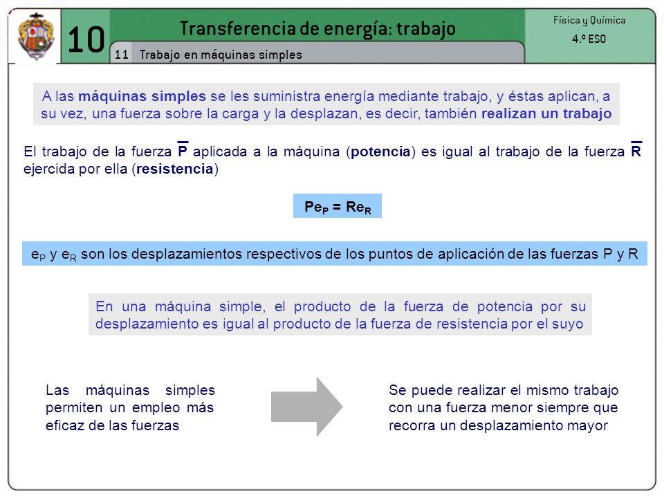 10 Transferencia de energía: trabajo 11 Física y Química 4.º ESO Trabajo en máquinas simples A las máquinas simples se les suministra energía mediante trabajo, y éstas aplican, a su vez, una fuerza sobre la carga y la desplazan, es decir, también realizan un trabajo El trabajo de la fuerza P aplicada a la máquina (potencia) es igual al trabajo de la fuerza R ejercida por ella (resistencia) Pe P = Re R e P y e R son los desplazamientos respectivos de los puntos de aplicación de las fuerzas P y R En una máquina simple, el producto de la fuerza de potencia por su desplazamiento es igual al producto de la fuerza de resistencia por el suyo Las máquinas simples permiten un empleo más eficaz de las fuerzas Se puede realizar el mismo trabajo con una fuerza menor siempre que recorra un desplazamiento mayor