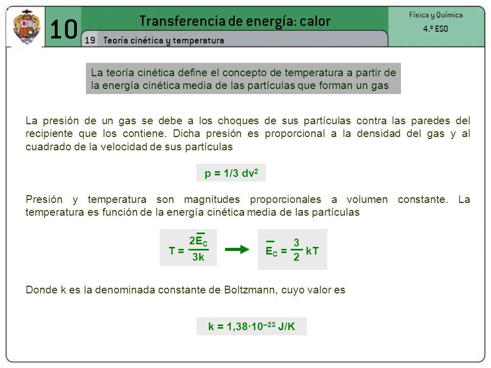 10 Transferencia de energía: calor 19 Física y Química 4.º ESO Teoría cinética y temperatura La presión de un gas se debe a los choques de sus partículas contra las paredes del recipiente que los contiene.