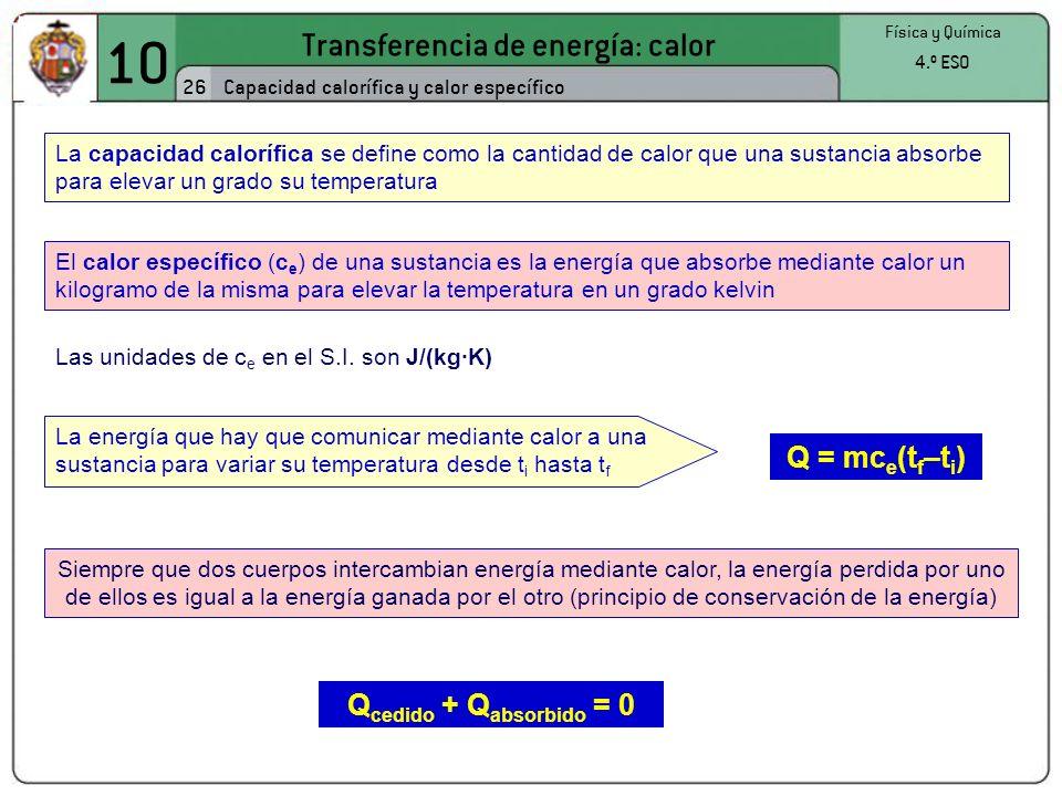 10 Transferencia de energía: calor 26 Física y Química 4.º ESO Capacidad calorífica y calor específico La capacidad calorífica se define como la cantidad de calor que una sustancia absorbe para elevar un grado su temperatura El calor específico (c e ) de una sustancia es la energía que absorbe mediante calor un kilogramo de la misma para elevar la temperatura en un grado kelvin Las unidades de c e en el S.I.