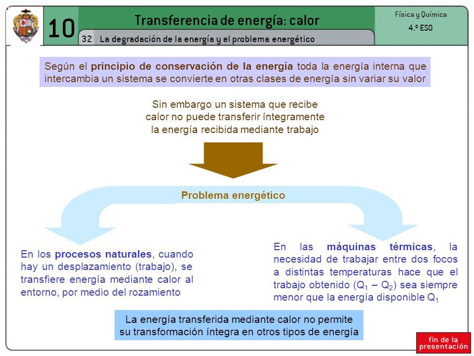 10 Transferencia de energía: calor 32 Física y Química 4.º ESO La degradación de la energía y el problema energético Según el principio de conservación de la energía toda la energía interna que intercambia un sistema se convierte en otras clases de energía sin variar su valor Sin embargo un sistema que recibe calor no puede transferir íntegramente la energía recibida mediante trabajo En los procesos naturales, cuando hay un desplazamiento (trabajo), se transfiere energía mediante calor al entorno, por medio del rozamiento En las máquinas térmicas, la necesidad de trabajar entre dos focos a distintas temperaturas hace que el trabajo obtenido (Q 1 – Q 2 ) sea siempre menor que la energía disponible Q 1 La energía transferida mediante calor no permite su transformación íntegra en otros tipos de energía Problema energético