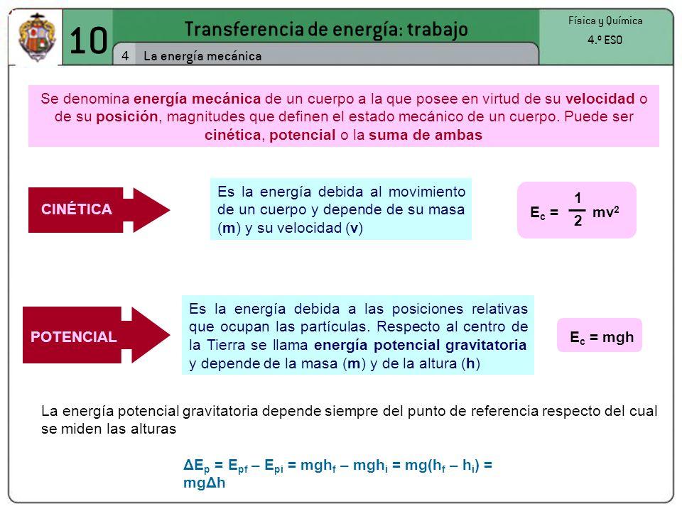 10 Transferencia de energía: trabajo 4 Física y Química 4.º ESO La energía mecánica Se denomina energía mecánica de un cuerpo a la que posee en virtud de su velocidad o de su posición, magnitudes que definen el estado mecánico de un cuerpo.