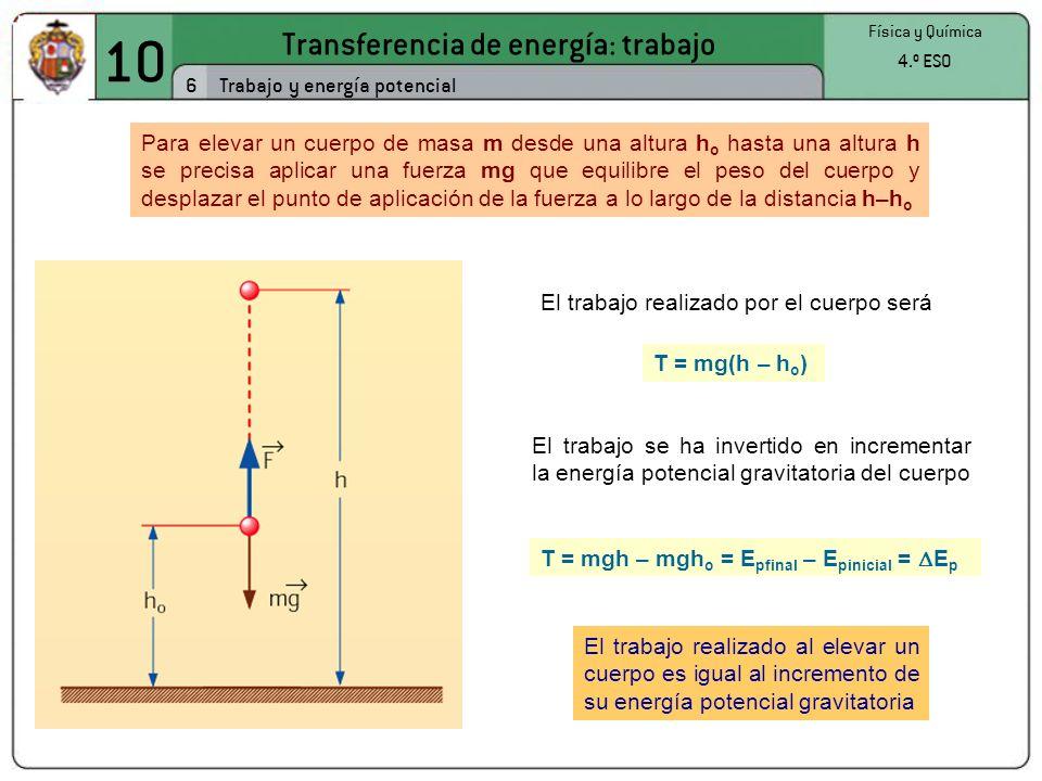 10 Transferencia de energía: trabajo 6 Física y Química 4.º ESO Trabajo y energía potencial Para elevar un cuerpo de masa m desde una altura h o hasta una altura h se precisa aplicar una fuerza mg que equilibre el peso del cuerpo y desplazar el punto de aplicación de la fuerza a lo largo de la distancia h–h o T = mgh – mgh o = E pfinal – E pinicial = E p El trabajo realizado por el cuerpo será T = mg(h – h o ) El trabajo se ha invertido en incrementar la energía potencial gravitatoria del cuerpo El trabajo realizado al elevar un cuerpo es igual al incremento de su energía potencial gravitatoria