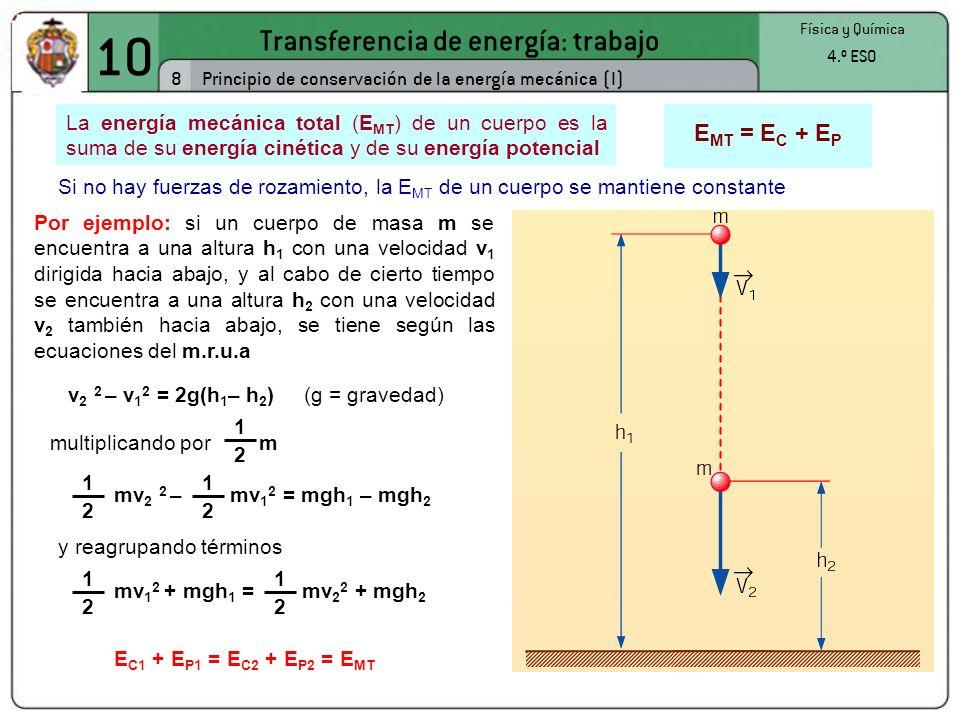 10 Transferencia de energía: trabajo 8 Física y Química 4.º ESO Principio de conservación de la energía mecánica (I) La energía mecánica total (E MT ) de un cuerpo es la suma de su energía cinética y de su energía potencial E MT = E C + E P Si no hay fuerzas de rozamiento, la E MT de un cuerpo se mantiene constante Por ejemplo: si un cuerpo de masa m se encuentra a una altura h 1 con una velocidad v 1 dirigida hacia abajo, y al cabo de cierto tiempo se encuentra a una altura h 2 con una velocidad v 2 también hacia abajo, se tiene según las ecuaciones del m.r.u.a v 2 2 – v 1 2 = 2g(h 1 – h 2 ) (g = gravedad) mv 2 2 – mv 1 2 = mgh 1 – mgh 2 1 2 1 2 1 2 multiplicando por m y reagrupando términos mv 1 2 + mgh 1 = mv 2 2 + mgh 2 1 2 1 2 E C1 + E P1 = E C2 + E P2 = E MT
