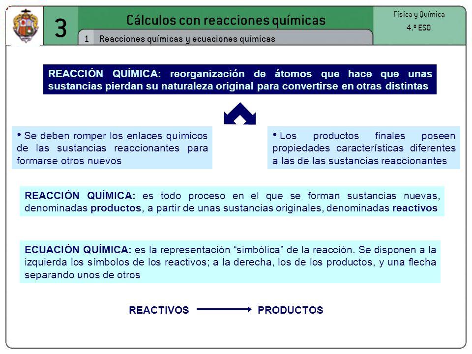 3 Cálculos con reacciones químicas 1 Física y Química 4.º ESO Reacciones químicas y ecuaciones químicas Se deben romper los enlaces químicos de las su