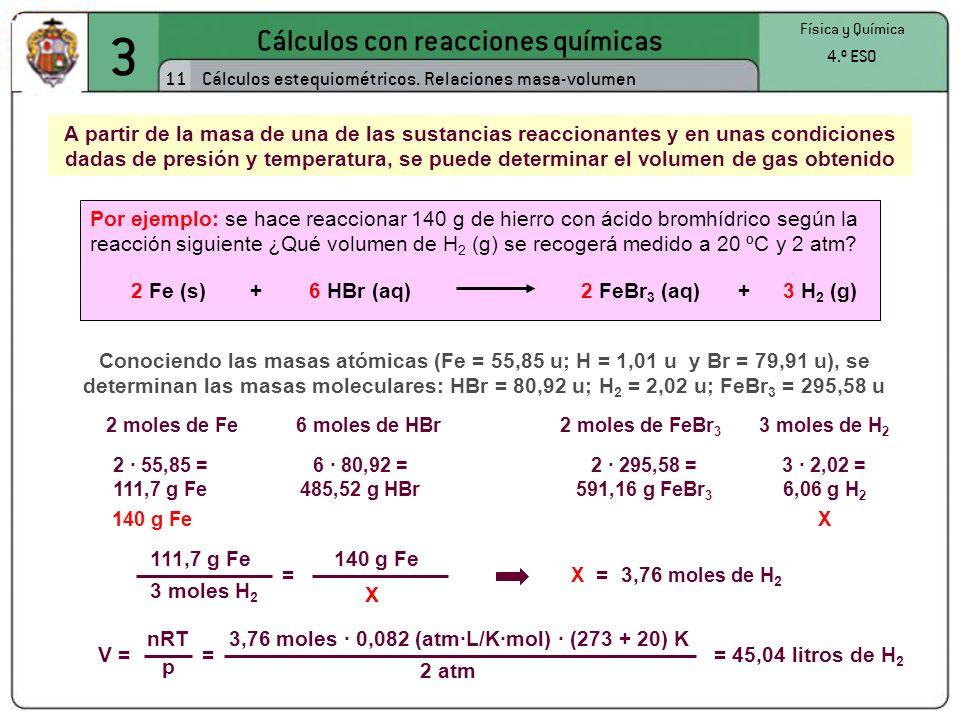 3 Cálculos con reacciones químicas 11 Física y Química 4.º ESO Cálculos estequiométricos. Relaciones masa-volumen 2 moles de Fe6 moles de HBr2 moles d