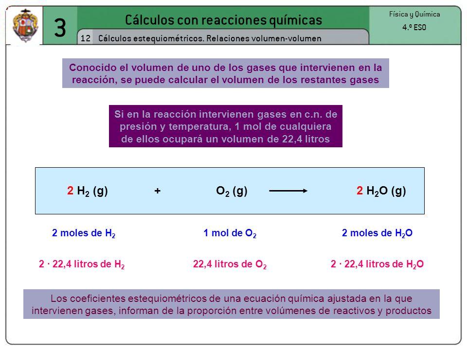 3 Cálculos con reacciones químicas 12 Física y Química 4.º ESO Cálculos estequiométricos. Relaciones volumen-volumen Si en la reacción intervienen gas
